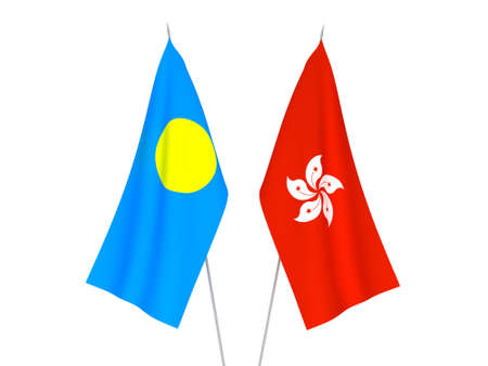 National fabric flags of Hong Kong and Palau isolated on white background. 3d rendering illustration.