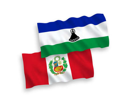 National vector fabric wave flags of Lesotho and Peru isolated on white background. 1 to 2 proportion.