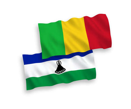 National vector fabric wave flags of Lesotho and Mali isolated on white background. 1 to 2 proportion.