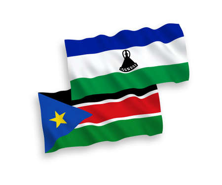 National vector fabric wave flags of Lesotho and Republic of South Sudan isolated on white background. 1 to 2 proportion. Vectores