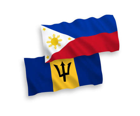 National vector fabric wave flags of Barbados and Philippines isolated on white background. 1 to 2 proportion.