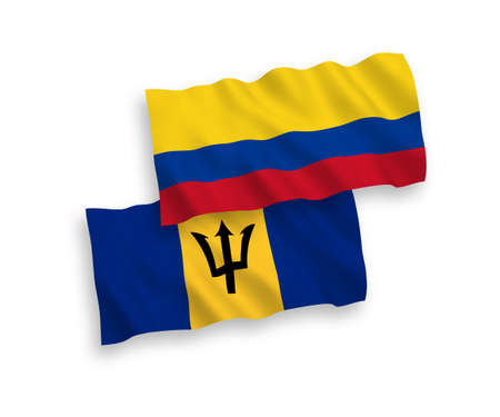 National vector fabric wave flags of Barbados and Colombia isolated on white background. 1 to 2 proportion.