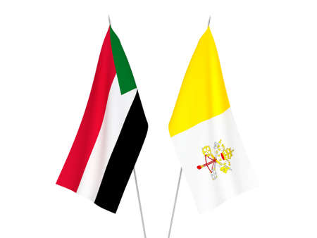 National fabric flags of Sudan and Vatican isolated on white background. 3d rendering illustration.