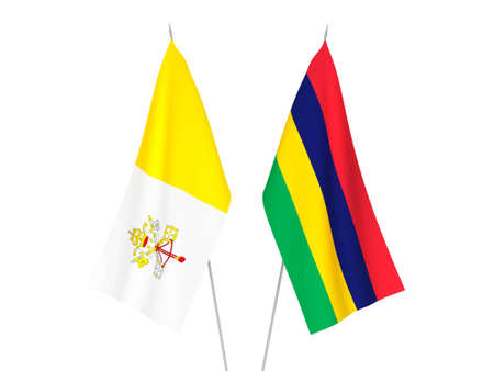 National fabric flags of Republic of Mauritius and Vatican isolated on white background. 3d rendering illustration.