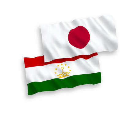National vector fabric wave flags of Japan and Tajikistan isolated on white background. 1 to 2 proportion.