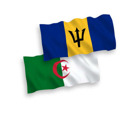 National vector fabric wave flags of Barbados and Algeria isolated on white background. 1 to 2 proportion.