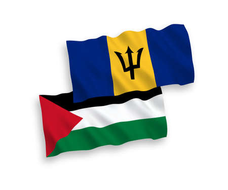 National vector fabric wave flags of Barbados and Palestine isolated on white background. 1 to 2 proportion.