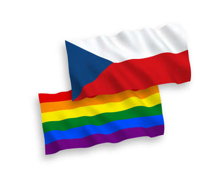 National vector fabric wave flags of Czech Republic and Rainbow gay pride isolated on white background. 1 to 2 proportion.