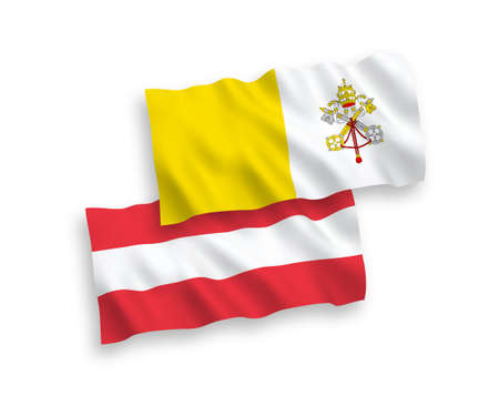 National vector fabric wave flags of Austria and Vatican isolated on white background. 1 to 2 proportion.