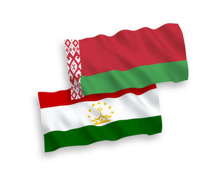 National vector fabric wave flags of Tajikistan and Belarus isolated on white background. 1 to 2 proportion.