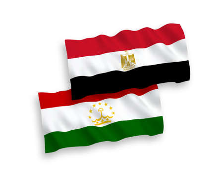 National vector fabric wave flags of Tajikistan and Egypt isolated on white background. 1 to 2 proportion.