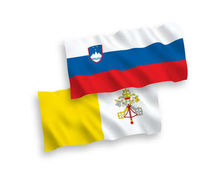 National vector fabric wave flags of Slovenia and Vatican isolated on white background. 1 to 2 proportion. Illustration