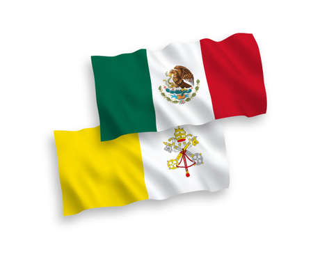 National vector fabric wave flags of Mexico and Vatican isolated on white background. 1 to 2 proportion.