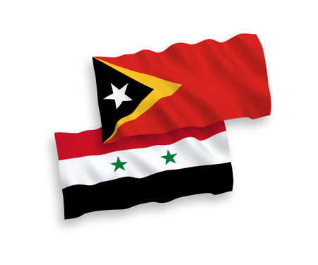 National vector fabric wave flags of East Timor and Syria isolated on white background. 1 to 2 proportion. Векторная Иллюстрация