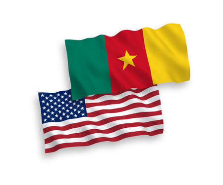National vector fabric wave flags of Cameroon and USA isolated on white background. 1 to 2 proportion.
