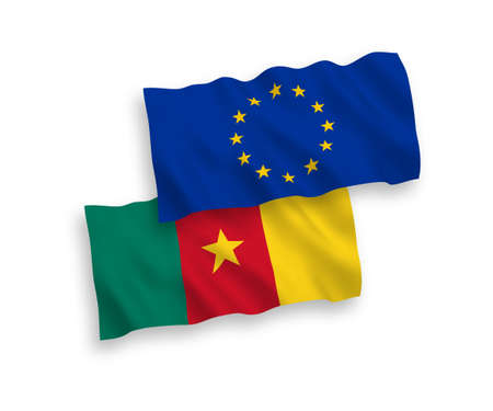 National vector fabric wave flags of European Union and Cameroon isolated on white background. 1 to 2 proportion. Stock Illustratie