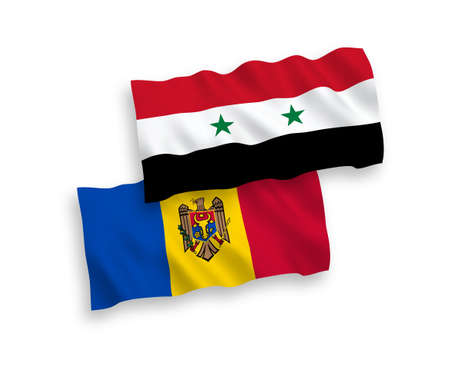 National vector fabric wave flags of Moldova and Syria isolated on white background. 1 to 2 proportion.