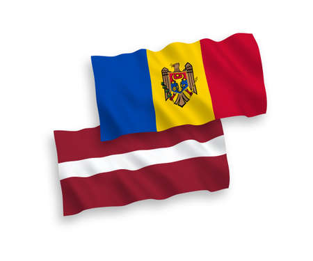 National vector fabric wave flags of Latvia and Moldova isolated on white background. 1 to 2 proportion.