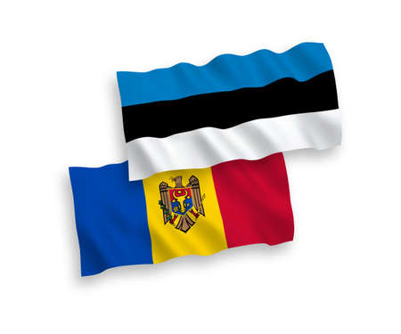 National vector fabric wave flags of Estonia and Moldova isolated on white background. 1 to 2 proportion.