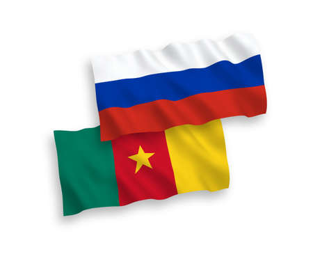 National vector fabric wave flags of Cameroon and Russia isolated on white background. 1 to 2 proportion.