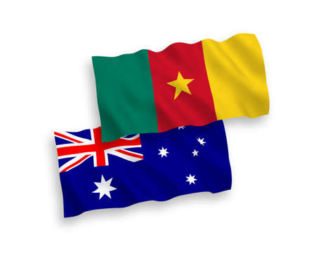 National vector fabric wave flags of Australia and Cameroon isolated on white background. 1 to 2 proportion.