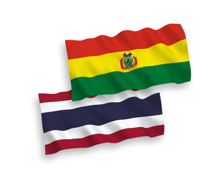National vector fabric wave flags of Bolivia and Thailand isolated on white background. 1 to 2 proportion.
