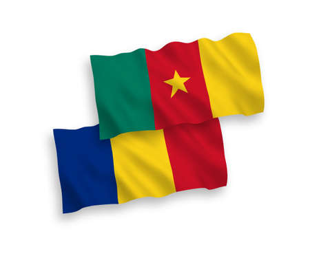 National vector fabric wave flags of Romania and Cameroon isolated on white background. 1 to 2 proportion.