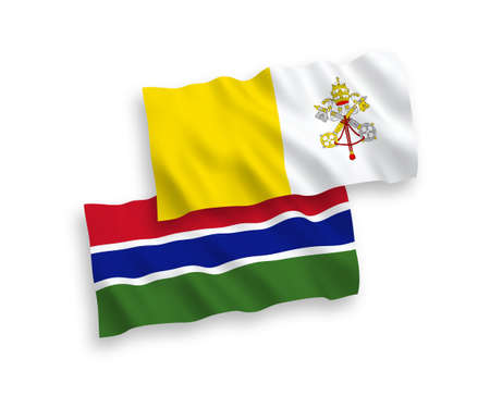 National vector fabric wave flags of Vatican and Republic of Gambia isolated on white background. 1 to 2 proportion.