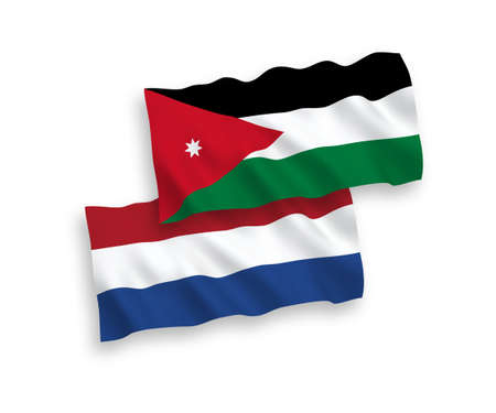 National vector fabric wave flags of Hashemite Kingdom of Jordan and Netherlands isolated on white background. 1 to 2 proportion.