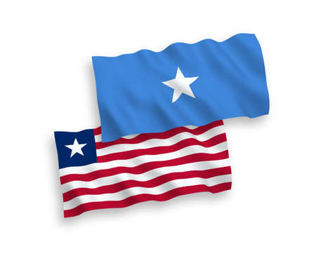 National vector fabric wave flags of Liberia and Somalia isolated on white background. 1 to 2 proportion.