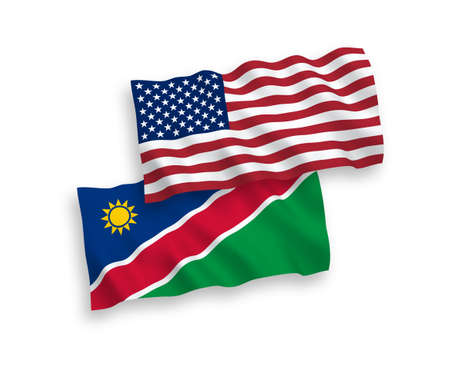 National vector fabric wave flags of Republic of Namibia and USA isolated on white background. 1 to 2 proportion.