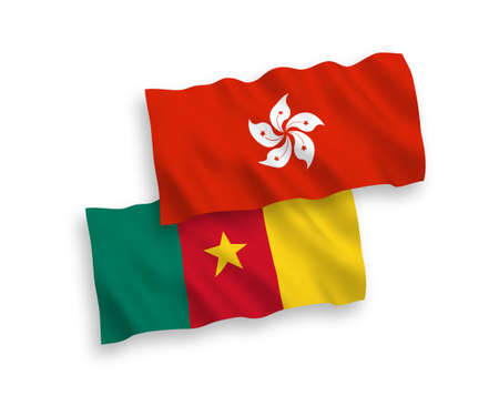 National vector fabric wave flags of Cameroon and Hong Kong isolated on white background. 1 to 2 proportion.