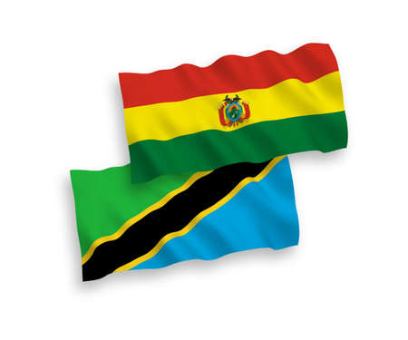 National vector fabric wave flags of Bolivia and Tanzania isolated on white background. 1 to 2 proportion.