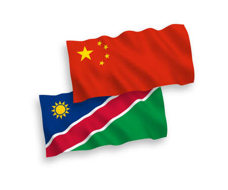 National vector fabric wave flags of Republic of Namibia and China isolated on white background 1 to 2 proportion.