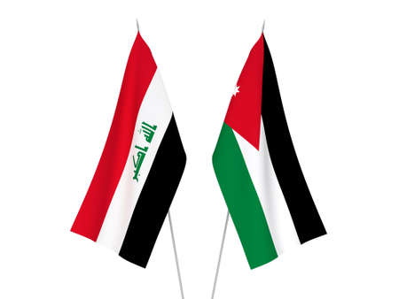 National fabric flags of Iraq and Hashemite Kingdom of Jordan isolated on white background. 3d rendering illustration.