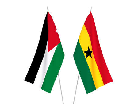 National fabric flags of Ghana and Hashemite Kingdom of Jordan isolated on white background. 3d rendering illustration.
