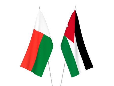 National fabric flags of Madagascar and Hashemite Kingdom of Jordan isolated on white background. 3d rendering illustration.
