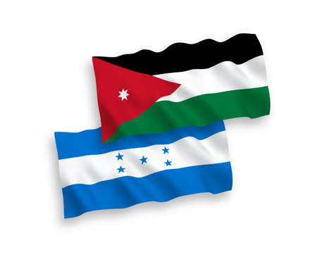 National vector fabric wave flags of Hashemite Kingdom of Jordan and Honduras isolated on white background. 1 to 2 proportion.