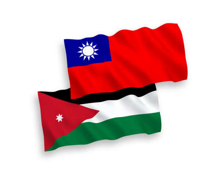 National vector fabric wave flags of Hashemite Kingdom of Jordan and Taiwan isolated on white background. 1 to 2 proportion.