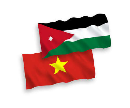 National vector fabric wave flags of Hashemite Kingdom of Jordan and Vietnam isolated on white background. 1 to 2 proportion.
