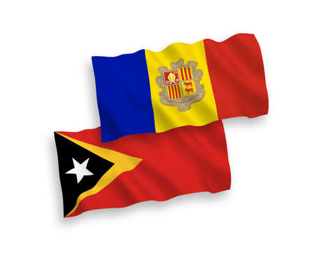 National vector fabric wave flags of East Timor and Andorra isolated on white background. 1 to 2 proportion.