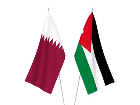 National fabric flags of Qatar and Hashemite Kingdom of Jordan isolated on white background. 3d rendering illustration. 写真素材