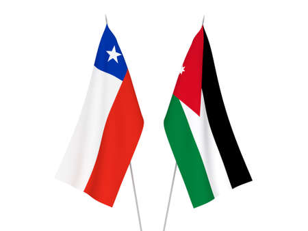 National fabric flags of Chile and Hashemite Kingdom of Jordan isolated on white background. 3d rendering illustration.