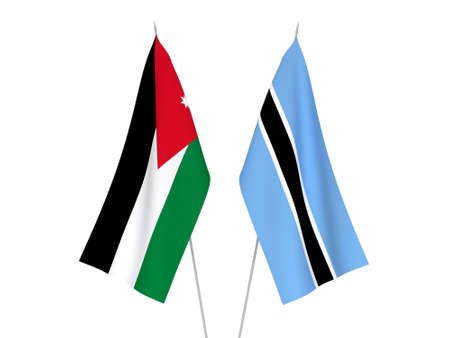 National fabric flags of Botswana and Hashemite Kingdom of Jordan isolated on white background. 3d rendering illustration. 写真素材