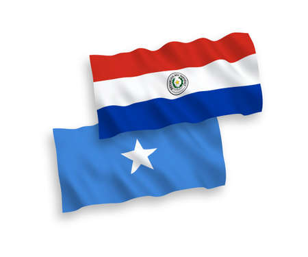 National vector fabric wave flags of Paraguay and Somalia isolated on white background. 1 to 2 proportion.
