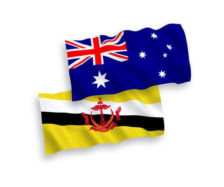 National vector fabric wave flags of Australia and Brunei isolated on white background. 1 to 2 proportion. Векторная Иллюстрация