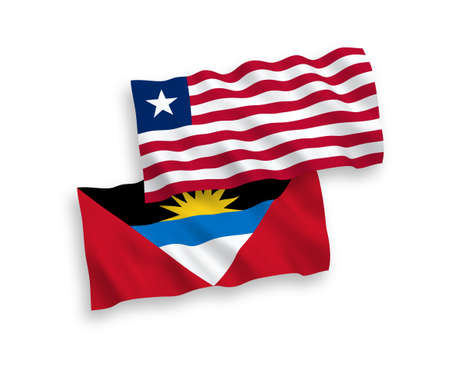National vector fabric wave flags of Liberia and Antigua and Barbuda isolated on white background. 1 to 2 proportion.