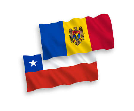 National vector fabric wave flags of Moldova and Chile isolated on white background. 1 to 2 proportion.