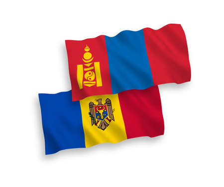 Flags of Moldova and Mongolia on a white background 矢量图片