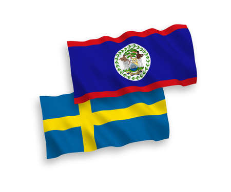 Flags of Sweden and Belize on a white background